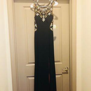 Beaded Navy Formal Dress